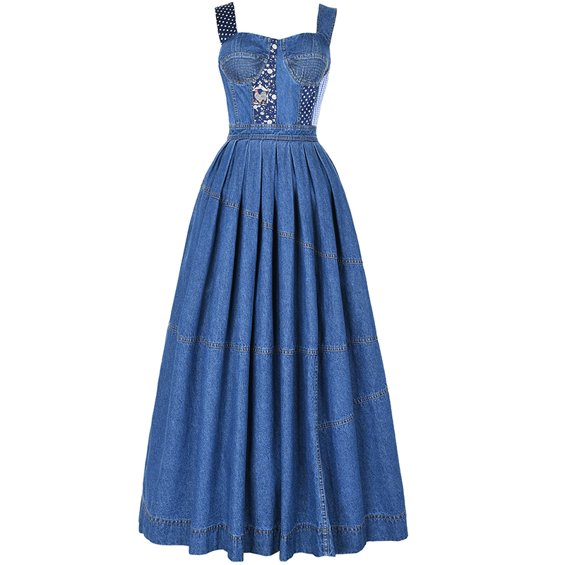 Free Shiping 2019 New Fashion Women Vintage Cotton Denim Long Maxi Strap Sleeveless Dresses Spring And Autumn Gorgeous Dress S L in Dresses from Women 39 s Clothing