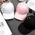 2016 Rosa Blanco Negro Pin Personalidad Gorra de béisbol Hombres Mujeres Kpop Ala Curva Summder Casquillo Del Snapback En Blanco Llano Sombreros de la Pesca sombrero