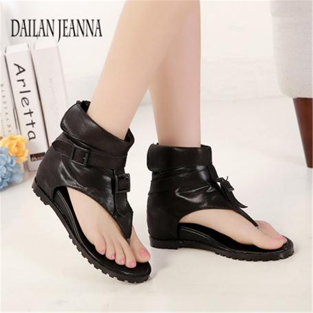 women's shoes inside the high-rise herringbone sandals, toe-high-top shoes, cool boots 2017 summer new Korean version of black 2018the new women s patent leather and shoes classic korean version of the classic korean shoes red wedding shoes