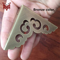 65MM Antique Copper wrap angle Brass gusset Carving Door Decoration Corner Copper sheet Stitch frame lens frame for Kok 4pcs