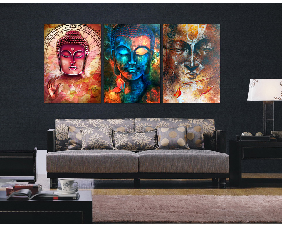 3 pieces buddha image portrait art painting canvas wall - Modern wall decor for living room ...