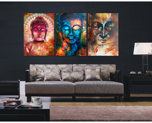 3 pieces buddha image portrait art painting canvas wall for Dining room paintings sale