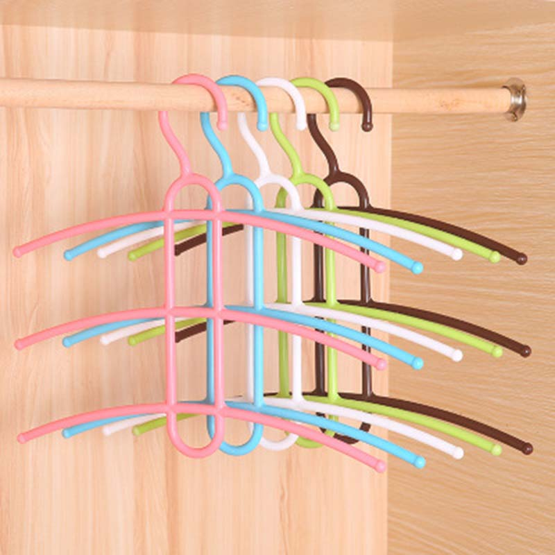 3 Layers Fish Bone Shaped Plastic Cloth Hanger Hook Clothes Holder Drying Rack Clothing Organizer Space Saver Non-slip Hangers