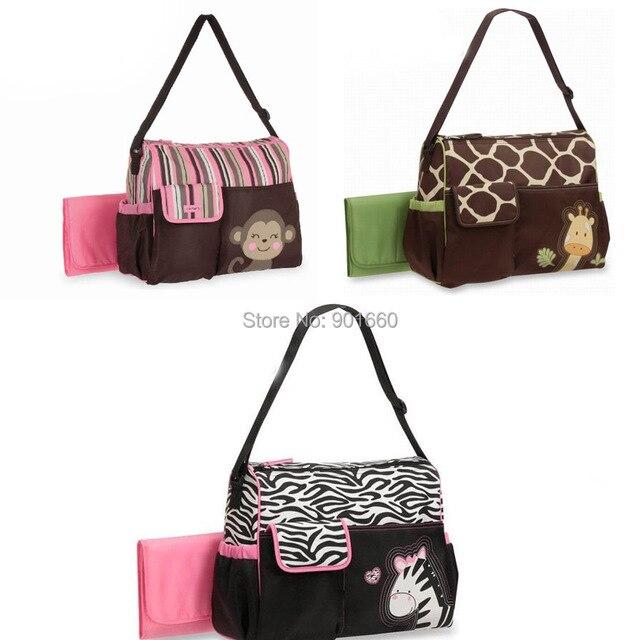 Monkey Zebra Giraffe Baby Diaper Ny Changing Bag 3pcs