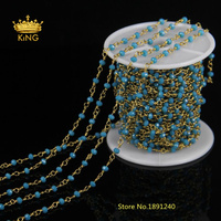 Wholesale Blue Rondelle Bead Chain Plated Gold Brass Wire Wrapped Rosary Chain for Necklace bracelet,Fine Jewelry Findings LS013