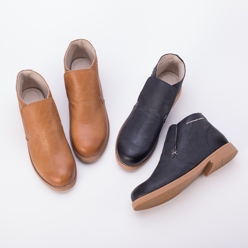 2016 new autumn and winter Sen Department of Japanese small fresh short barrel simple classic casual genuine leather short boots