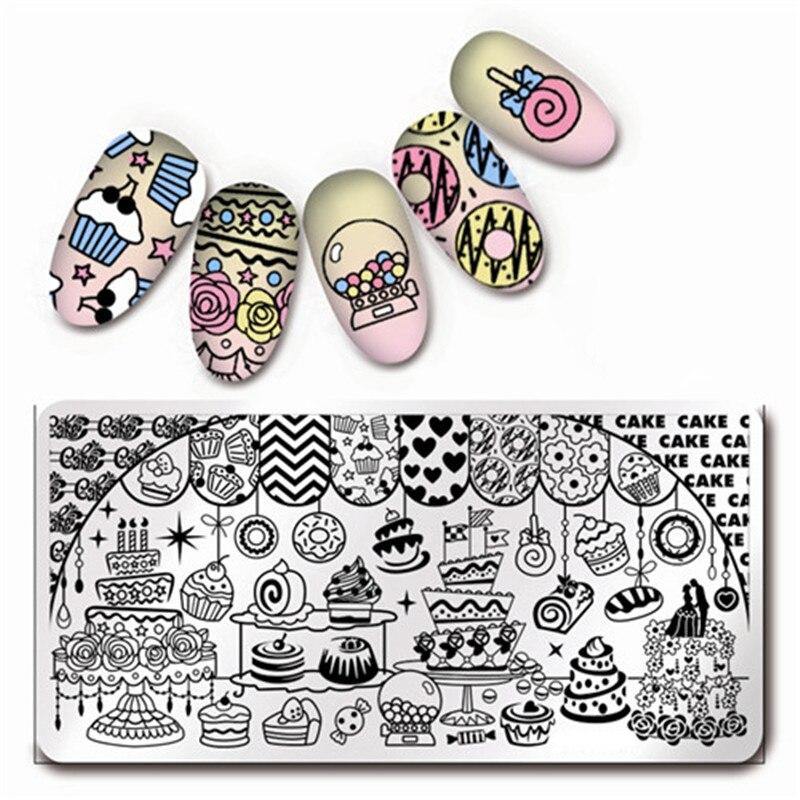 1 Шт. Harunouta Штамповка Плиты Торт Десерт Pattern Nail Art Плиты Изображения Harunouta L021