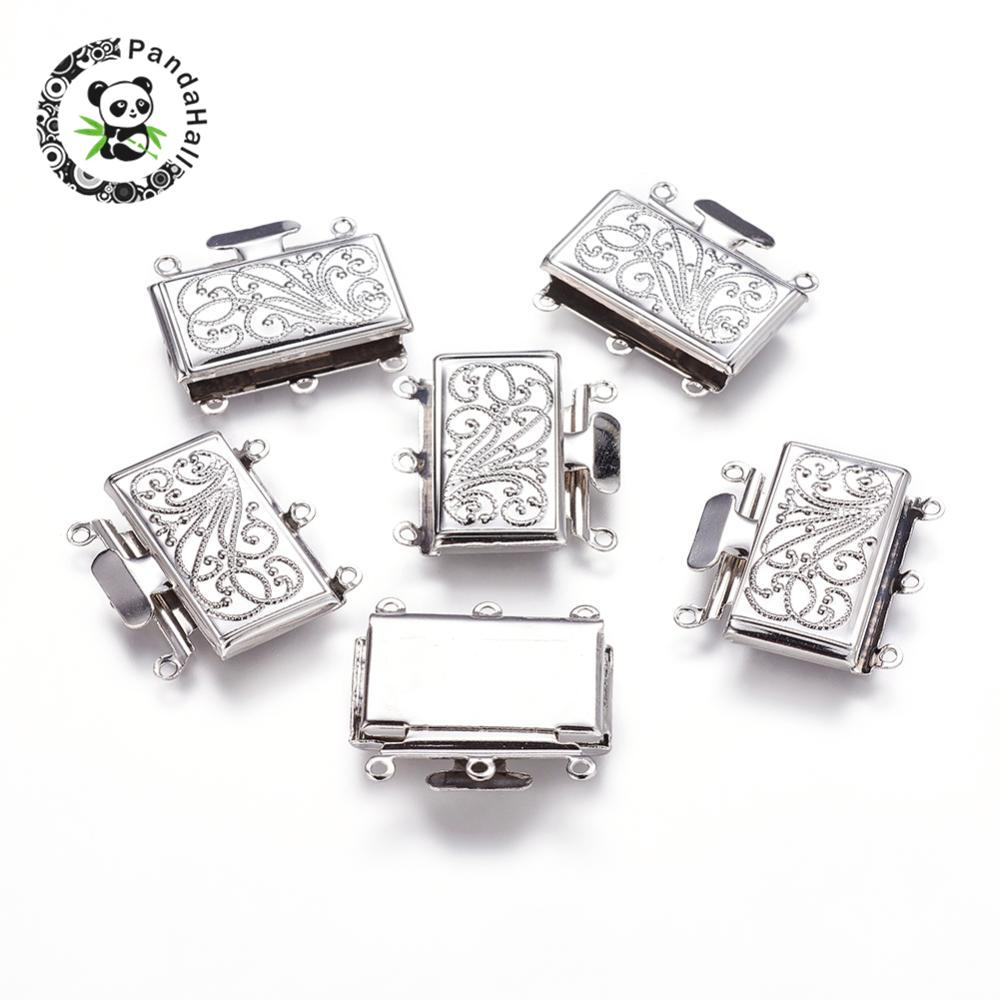 50Set Brass Multi strand Box Clasps for Jewelry Making Nickel Free Platinum Color 21mm wide 23mm long 5mm thick Hole: 1.5mm|box clasp|5mm thicknessnickel free - AliExpress