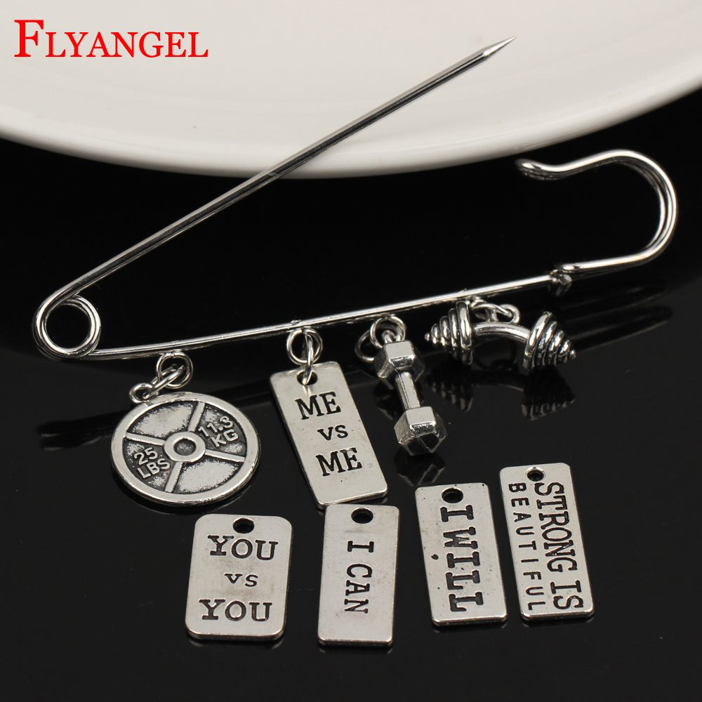 Weight Loss Weight Plate Lettering Me Men Women Fitness Brooch 4 Holes Dumbbell Barbell Pendant Shawl Kilt Pin Clothes Jewelry