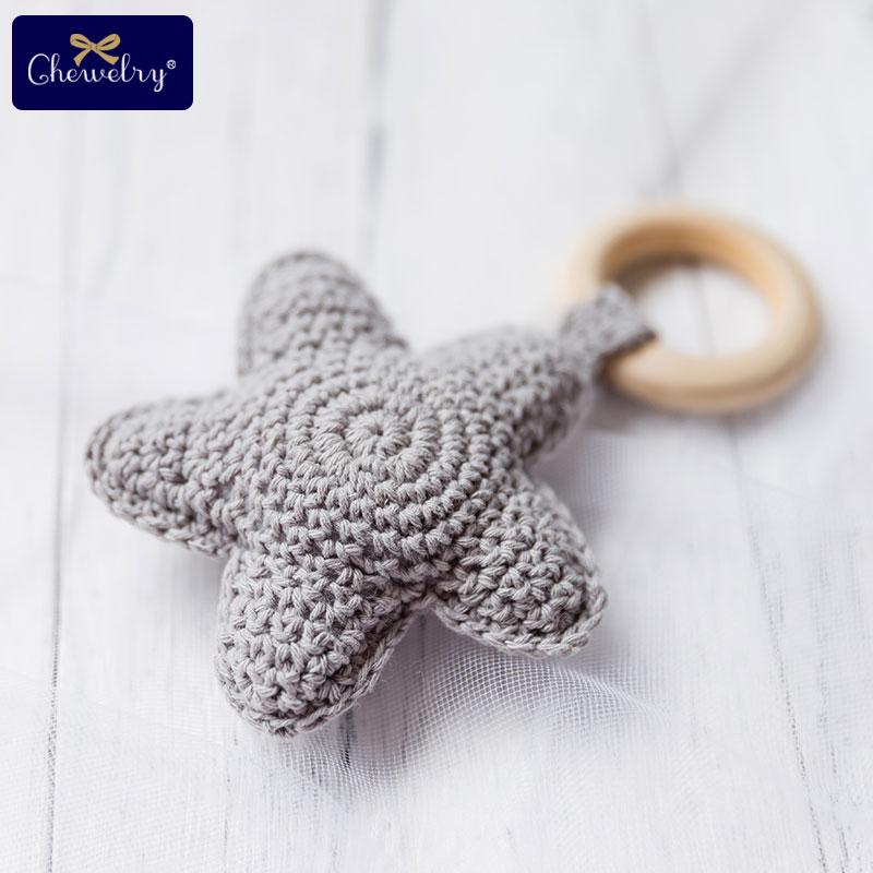 Baby Rattle Bells Crochet Knitted Star Baby Play Gym 1pc Baby Teething Wooden Ring Teether Pendant For Kids Gift Montessori Toys | Happy Baby Mama