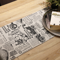 British Style British Element Pattern White And Black Table Runner For Tea Coffee Table TV Stand