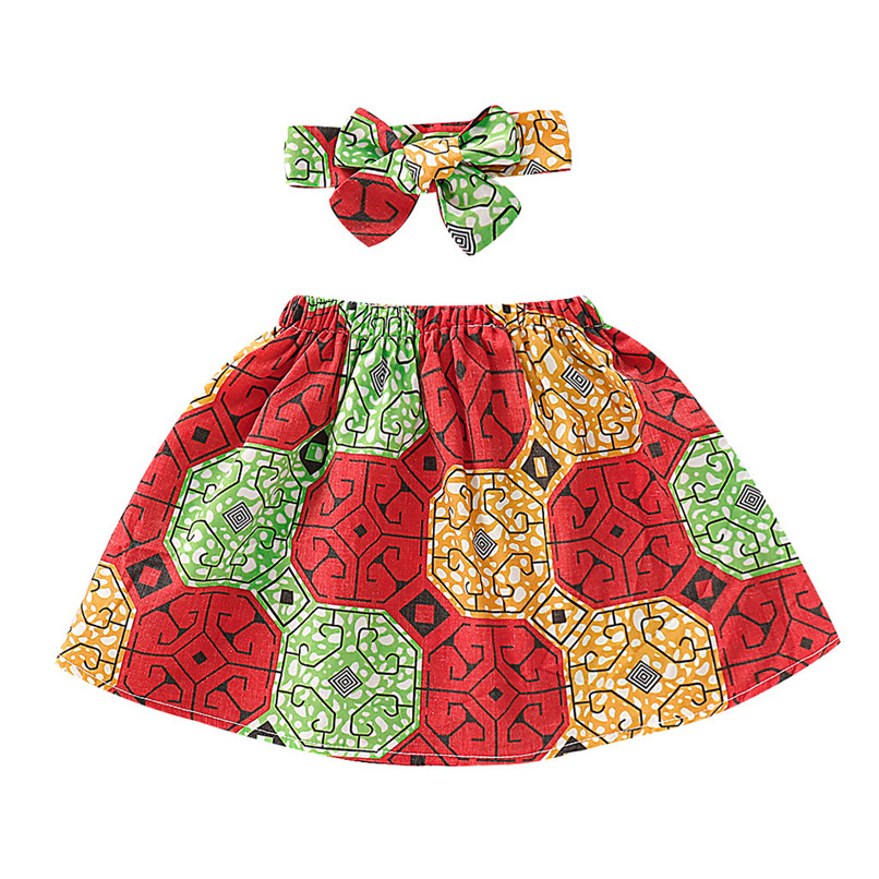 Toddler Kids Baby Girls Cotton African Skirt Headband Dashiki Print Clothing Set
