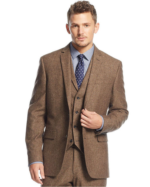 tailor made winter brown tweed man suit 3 piece mens. Black Bedroom Furniture Sets. Home Design Ideas