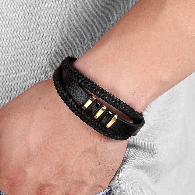 3 layers black gold punk style design genuine leather bracelet