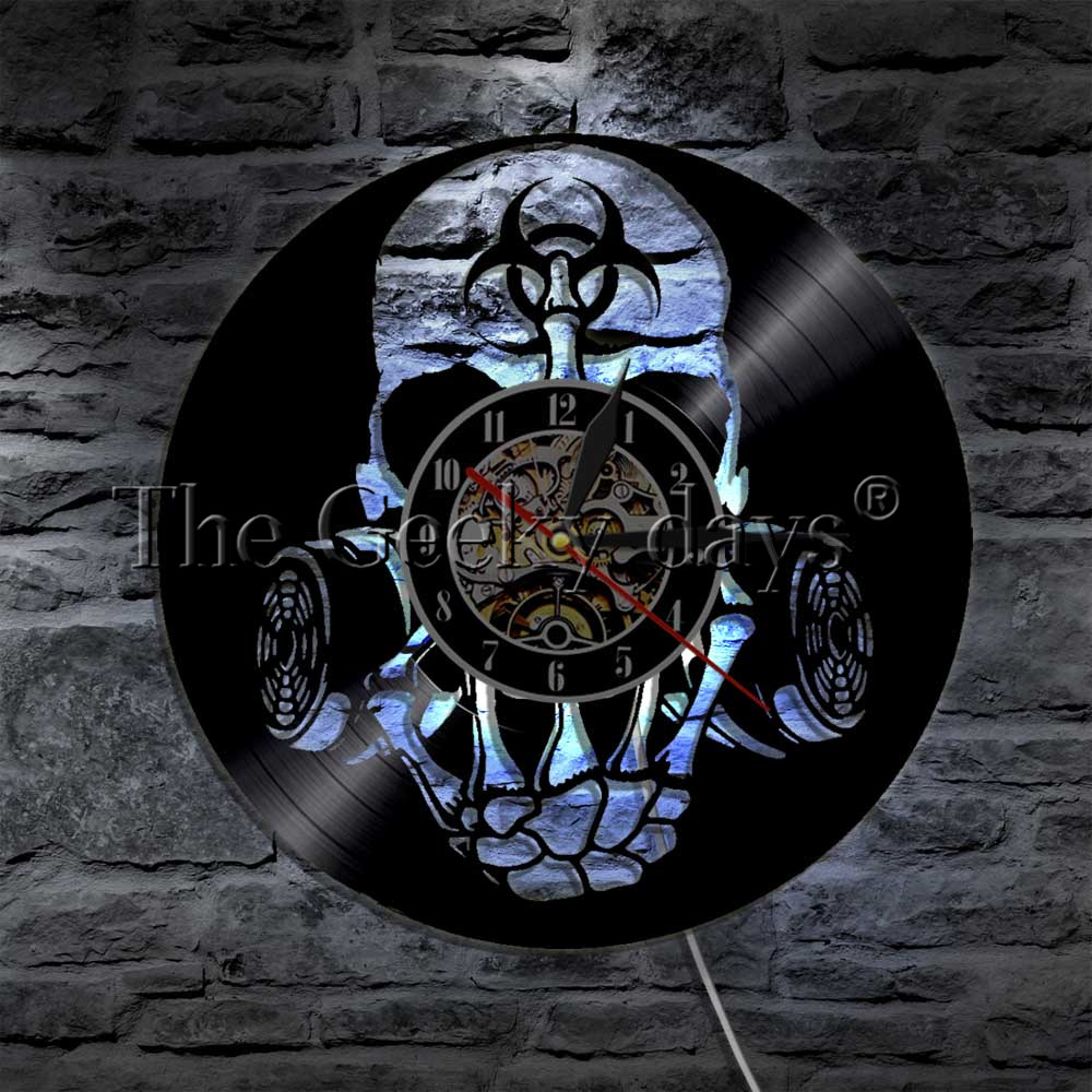 Reasonable 1piece Toxic Biohazard Zombie Gas Mask Skull Vinyl Clock Led Wall Light Remote Control Modern Art Backlight Living Room Interior Led Indoor Wall Lamps Led Lamps