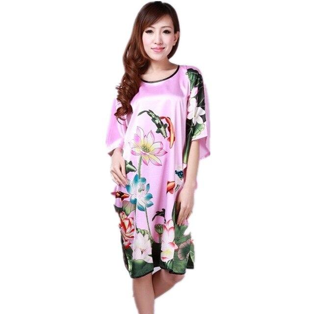 NOUVEAU Rose Bleu Dames Robe D été Pyjamas Chinois Femmes Rayon De Nuit  Kimono Bath 73bafd1c027