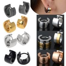 Women Mens Stainless Steel Stud Hoop Huggie Earrings Crystal Cubic Silver Gold Platinum Plated Round Gift