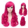 Hot Cheap Wig Women Charming Fashion women wigs Long wavy pink red Synthetic Hair Cosplay Wig free shipping