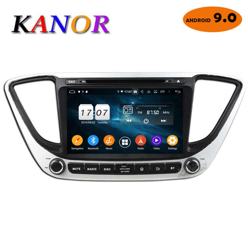 KANOR IPS Android 9,0 Octa Core 2din Radio del coche para Hyundai Solaris Verna 2017 Radio de navegación reproductor de Video de Audio GPS multimedia