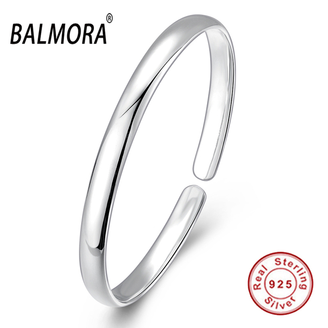 New 100% Real 925 Sterling Silver Jewelry Round Simple Open Cuff Bangles for Women Accessories Gifts High Quality Bijoux SVB116