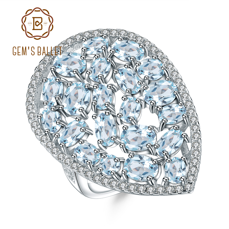 GEM S BALLET 6 31Ct Natural Sky Blue Topaz Cocktail Ring Pure 925 Sterling Silver Gemstone
