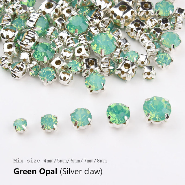 Top Sale Good-Quality Sew On Rhinestones Green Opal with Silver Base  4mm-8mm Mix Size 120pcs Rhinestone and Stone for clothing ae701e143d9f