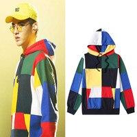 New arrival exo Kris Color block splice Hooded Sweatshirt unisex Korean Fans pullover Hoodie Harajuku Street sweatshirt