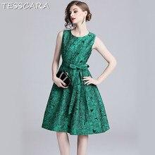 d83f2f55e TESSCARA mujeres elegante Jacquard Vestido de Festa mujer Vintage de alta  calidad diseñador de Vestidos de moda de oficina larga.