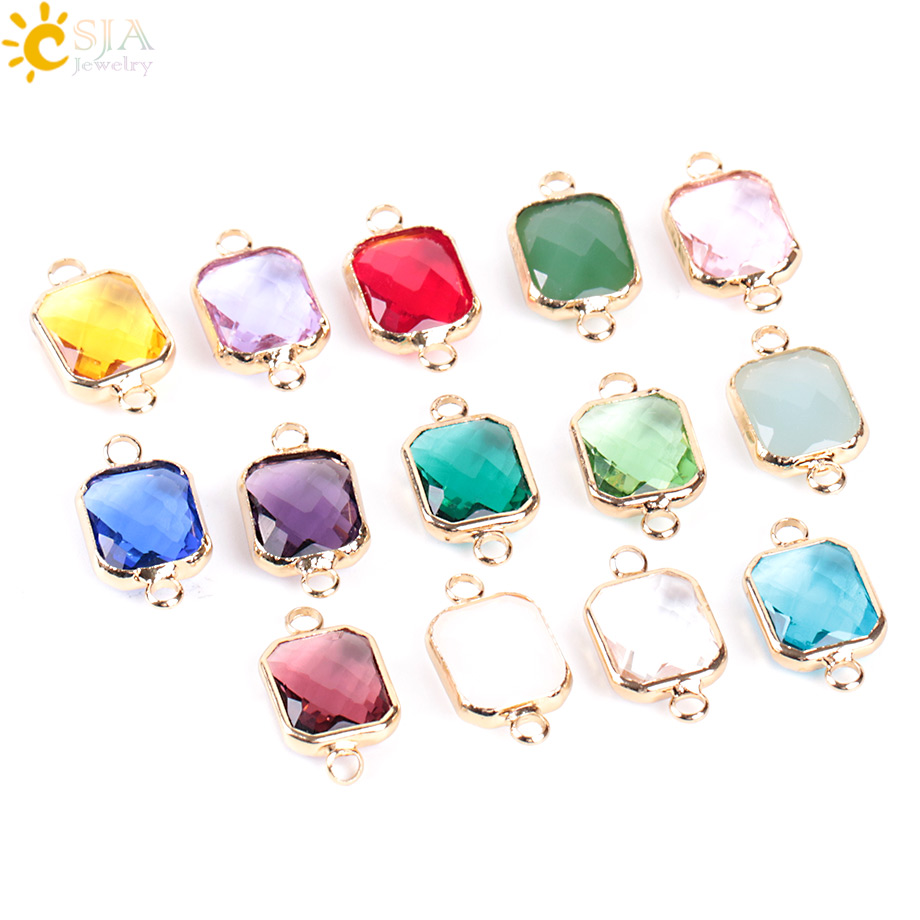CSJA Bohemian Square Crystal Glass Beads Gold Double Rings Pendant for Necklace Charm Brac