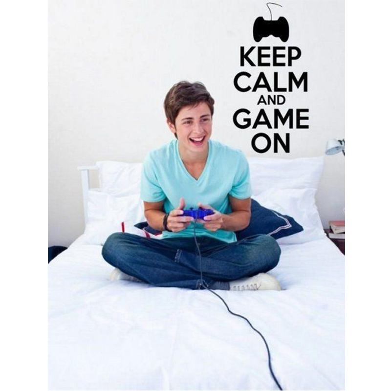 Keep Calm and Game On - Teenager Gamer Kids Room Wall Sticker Home Decal Free Shipping