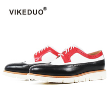 VIKEDUO 2019 Casual Sneakers For Men Patchwork Genuine Leather Male Shoes Fashion Handmade Lace-up Footwear Shoe Zapatos Hombre