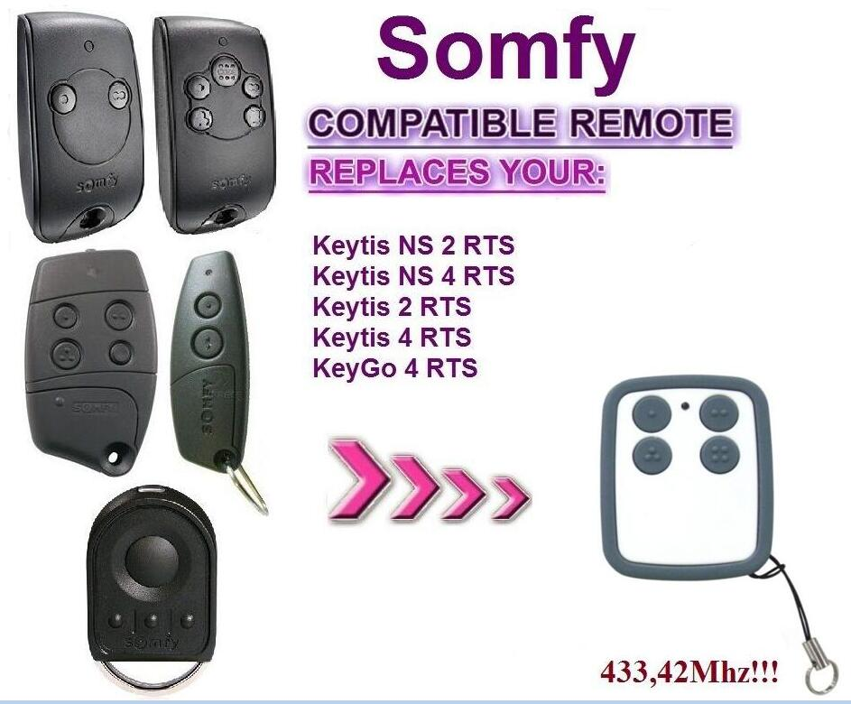 For SOMFY Keytis NS 2 RTS, Somfy Keytis 4 NS RTS compatible remote control 433,42Mhz rolling code free shipping кодовая панель somfy внешняя rts