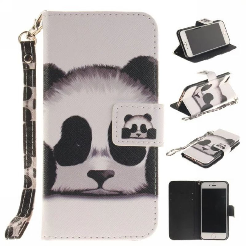 For iPhone 7 7plus 5 5s SE 6 6s Case Painted Leather Flip Case For iPhone 6 6s 5 Case Cover Card Slot Wallet Panda FlowerOwl