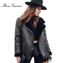 Jacket Faux-Sheepskin Shearling Coat Motorcycle Black Winter Women Lamb Short AS175882
