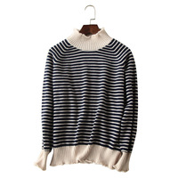 Women S Winter Knitted Cashmere Stripe Sweater Thick Pullovers Blue Striped Knitwear Sweater Female Skinny Warm