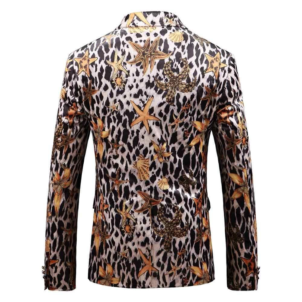 PAULKONTE Starfish Leopard Print Dress Jacket Suit Top Fashion High Quality Nightclub Party Wedding Slim Fit Mostly Male Blazer