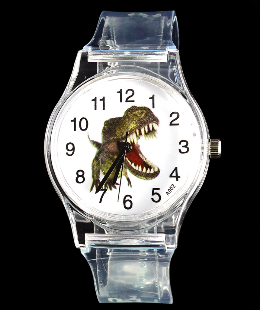 Dinosaur Tyrannosaurus Cartoon Watch Barn Kids Transparent Skull - Herrklockor