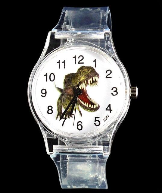 Dinosaur Tyrannosaurus Cartoon Watch Children Kids Transparent Skull Skeleton Jurassic Park Collection Dino Quartz Wrist Watches