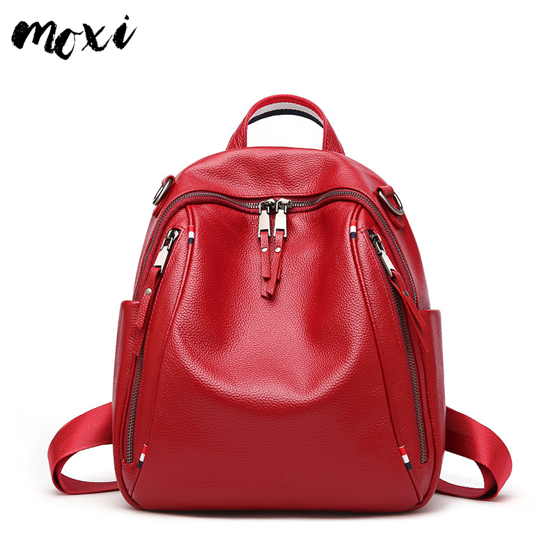 Moxi Ladies Backpack Genuine Leather Women's School Backpack Bag For College Simple Design Casual Daypacks Mochila Preppy Style
