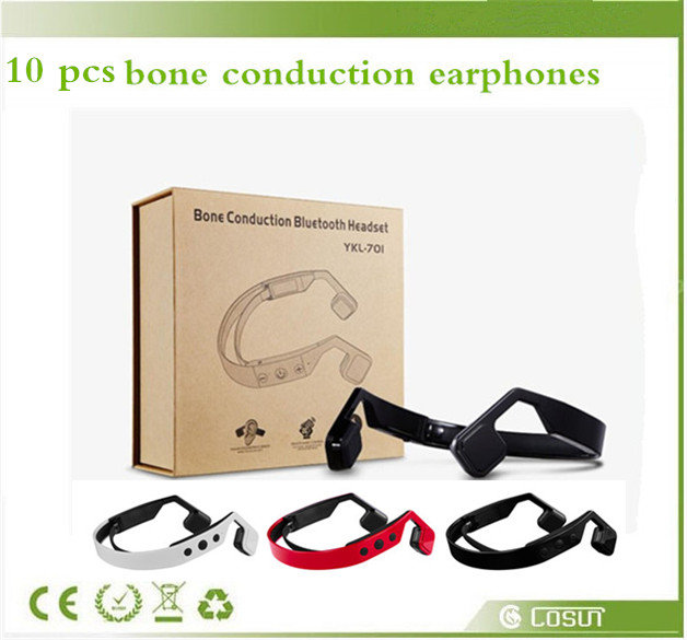 10 pcs/lot Neck-strap Bluetooth Headset Wireless Earphone Bone Conduction Outdoor Sports Music Headphones fone de ouvido lxl092