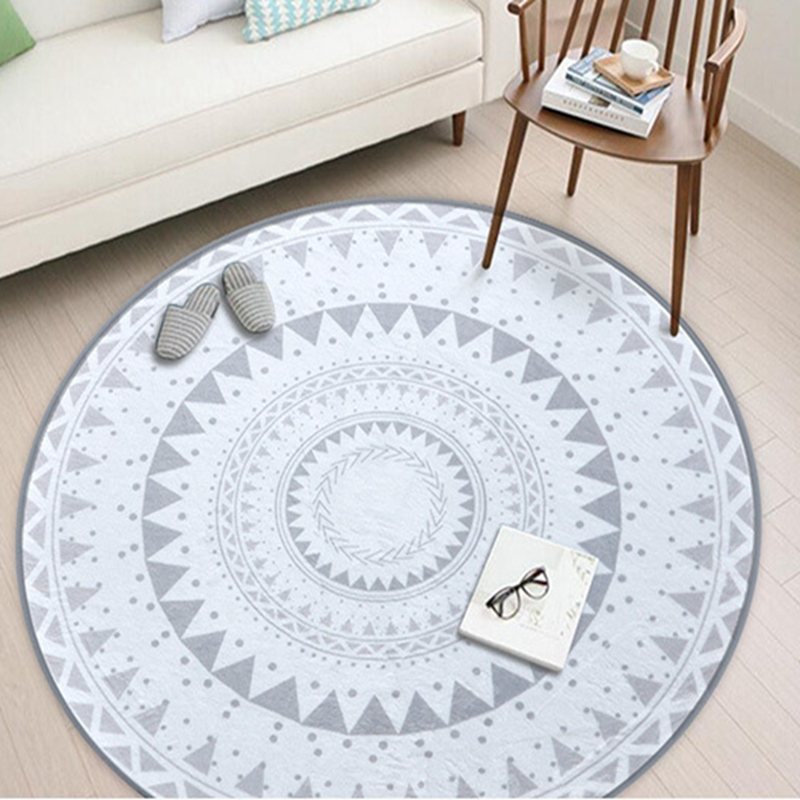 Geometric Flower Floor Carpet Rugs Nordic Style Children Carpet Living Room Tea Table Soft Bedroom Mat Non-Slip Round Decor Rug