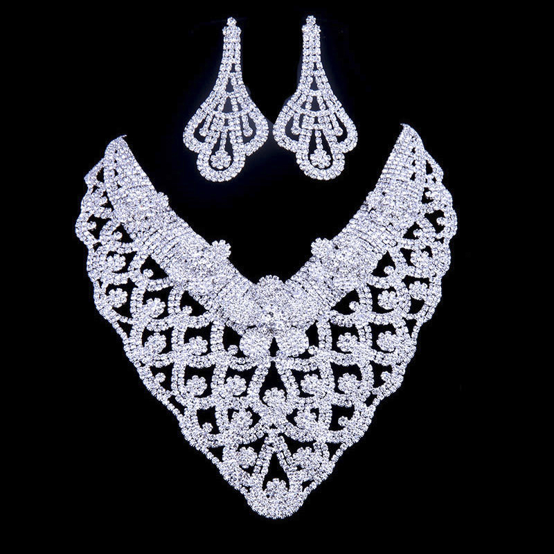 YFJEWE Austrian Crystal Jewelry Set Silver Necklace Bracelet For Women Pendientes Juego De Collar Bride Wedding Collier #N089 yfjewe silver necklace earrings and bracelet sets crystal ring jewelry for women jewelry sets bride wedding collar n087