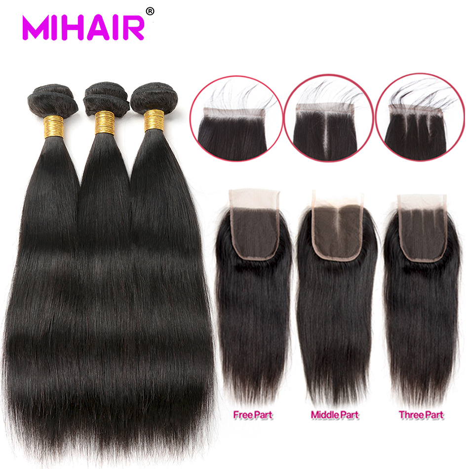 straight hair bundles with closure Indian straight bundles with closure Human Hair bundles with lace closure Remy Hair Extension