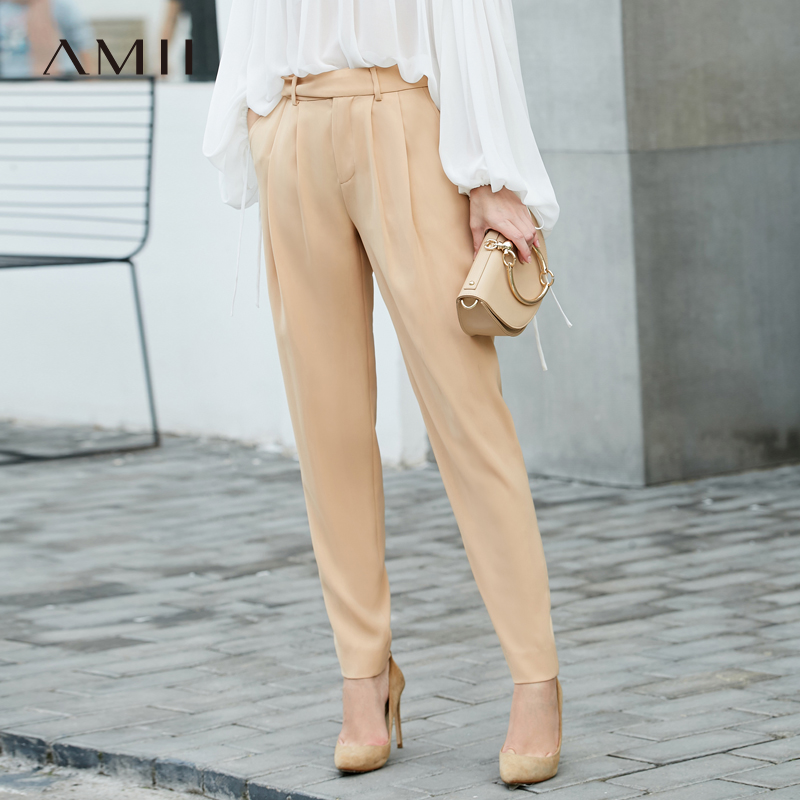 Amii Women Minimalist Pants 2019 Chiffon Office Lady High Waist Pleated with Belt Female Trousers