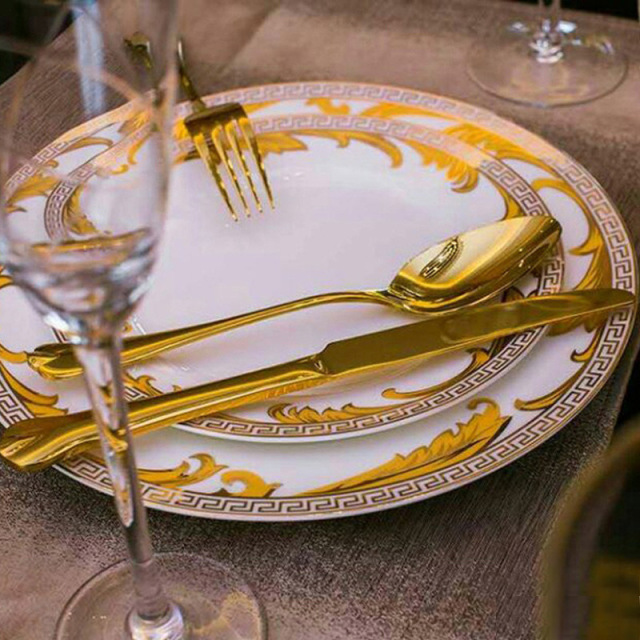 Advanced Dinner Set Royal Gold Leaves Flatware Set Steak Knife Fork Spoon Serving Tools Dinnerware Table Cutlery