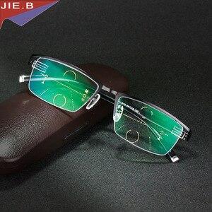 Image 4 - Titanium Alloy Smart Zoom Asymptotically Progressive Reading Glasses Half Rim Commercial Presbyopia Hyperopia Multifocal Glasses
