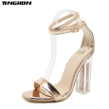 TINGHON Summer Rome Solid color Buckle Pumps Women Sandals sexy High Heels fashion Transparent thick with party Woman Shoes