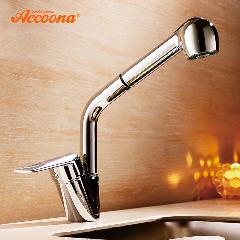 Accoona Kitchen Faucets 360 Rotate Pull Out Single Hole Ceramic Plate Contemporary Kitchen Faucet Sink Cold/Hot Water A5410