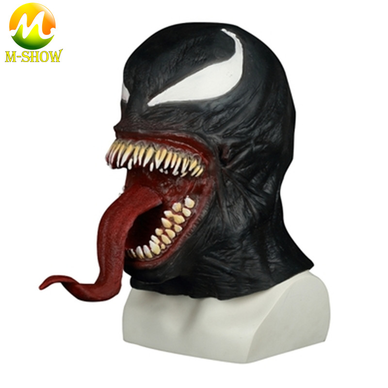Venom Mask Cosplay Latex Helmet Spiderman Deadly Guardian Hood Edward Brock Horror Full Face Halloween Party Costume Props