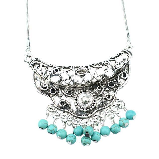 NR141 Gypsy Howlite Stone Pendant Tibetan Silver Color vintage necklace snake chain fashion wholesale jewelry